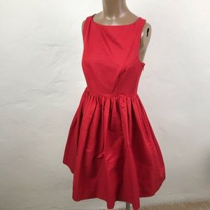 KATE SPADE Strappy RED Cotton Pleated PARTY DRESS